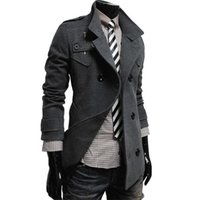 Wholesale Fall New Men Popular Casual Clothes Autumn Winter Long Coat Black Gray Double Breasted Windproof Soft Overcoat Hot Sale LCS263
