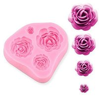 Wholesale 4 Rose Silicone Fondant Embossing Mold Mould Sugarcraft Baking Tools Cake DIY VK6