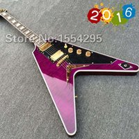 aa electric - Top Quality Factory Custom G Flying V Electric guitar Flying V shape Purple color body top AA grade tiger flame maple