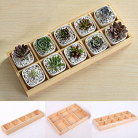 Wholesale New Design Succulent plants Wood Tray Small Planter Flowerpot Storage Boxes Cute Bonsai Holder Garden Supplies JR0044