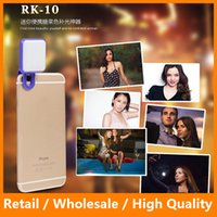 Wholesale RK LED Selfie Spotlight Lamp Night Light Photography Flash LED Bullbs with Clip for Camera iPhone6 s Plus sPlus S6 S6edge Note5