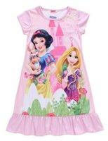 Wholesale kids girl dress snow white princess sleepwear casual pajamas shirt dress home wear round collar nightgown