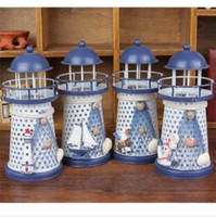 Wholesale Mediterranean Iron Lighthouse Craft Ornaments Ocean Home Decor LED Candle Light Caldleholder Perfect Gift