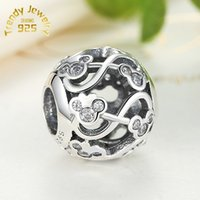 Wholesale 100 S925 Sterling Silver Minnie Mickey Infinity Charm Bead with Cz Fits European Jewelry Bracelets Necklaces