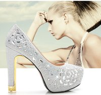 aa slingback - 2016 New fashion wedding shoes silver Gold Rhinestone High heels women s Shoe wedding bridal shoes