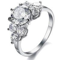 Wholesale Women s titanium steel ring Three Stone Rings real hot Jewelry simple flash diamond ladies stainless steel gemstone ring