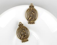Wholesale antique bronze X21mm bird cage charms jewelry findings jewelry making supplies