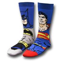 batman gear - Cotton Crew Socks Of DC Comics Batman Superman Hero Street Skateboard Athletic Cosplay Party Fixed Gear calcetines blue black