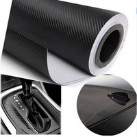 achat en gros de carbon sticker-Accessoires 127cmX30cm 3D Carbon Fiber Vinyl Film Auto Moto Carbon Fibre Car Wrap Fiche Film Roll Decal Sticker Car Styling