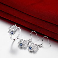 Wholesale Best gift fashion Diamond flower silver earring ring jewelry sets online for sale sterling silver blue gemstone set wedding GTFS097A