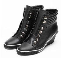Wholesale Women s Ash Genial Studded Small Wedge Sneakers Black Genuine Leather High top Fashion Sheepskin ASH Trainers Tide Sport Shoes