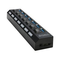 Wholesale 7 PORT USB Switch HUB with Power Adapter High Speed Power Cable For PC Desktop Laptop Notebook micro hub usb