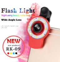 Wholesale LED Selfie Sync Flash Light RK09 Fill in Light with in lens and kinds of filters For Smartphone iOS Android Samsung
