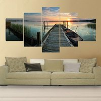 banks life - 5 Panel Modern No Frame Cuadros Decoracion Art Pintura Picture Peinture Parked On The Bank Of The Boat Canvas Oil Painting