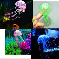 Wholesale 1 Glowing Artificial Vivid Jellyfish Silicone Fish Tank Decor Aquarium Decoration Ornament months warranty
