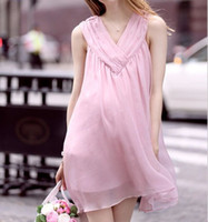 Wholesale Y00 Summer Maternity Dress Lace Clothes For Pregnant Women None Sleeve Maternity Pink Dress Pregnancy Clothing