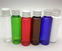 aluminium lid - ml colorful PET cosmetic bottle flat shoulder aluminium common screw top lid caps