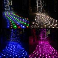 Rgb led net France-4 * 6M 8 * 10M Guirlande LED Net AC220V lumière / 110V Blanc RGB Bleu Twinkle Lampe Garland de soirée de mariage décoration de Noël lumières