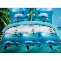Wholesale Vivid Dolphins Sanding Quilt Cover Bed Sheet Pillowcase pc Set Summer Bedding Set Home Textile Gift for m Bed