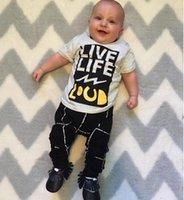 air conditioner shirt - 2016 new hot summer ins suit T shirt pants Newborn boy letters cotton harem pants Kids room air conditioners clothes climb E222