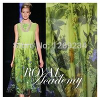 Wholesale fashion new silk chiffon fabric Light green printed pure silk fabrics q025