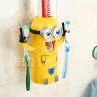 automatic toothpaste dispenser for kids - 2PC Cute Cartoon Minions Toothbrush Holder Automatic Toothpaste Dispenser Magnetic Brush Cup for Small Child kids