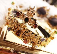 big hair photos - Europe and the United States big big crown restoring ancient ways is exaggerated cross hair band Royal bride photo studio hairpin accessorie