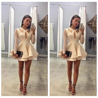 apples online - O Neck Illusion Long Sleeves A Line Homecoming Dresses Short Chiffon Mini Homecoming Party Gowns Custom Made Online Prom Party Gowns