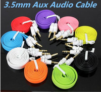 Wholesale Colorful mm Aux Audio Cable Male to Male Flat noodle Stereo Auxiliary Music Cord cables for speakers cell phone iphone7 samsung note7