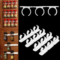 Wholesale 4 Sets Kitchen Clip Spice Gripper Jar Rack Storage Holder Wall Cabinet Door Popular New