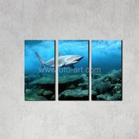 Cheap More Panel Animal HD Printed Oil Painting Best Digital printing Impressionist Shark
