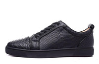 Wholesale hot sale louboutins black mens and womens black fishskin genuine leather low top sneakers designer brand sports shoes skateboarding shoes