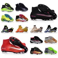 Wholesale New oriGINal mens high ankle football boots MaGISta FG HERITAGE soccer shoes CR7 MercURIal SupERfly IV V VI HyperVENom II supeRFLys cleats