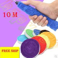 Wholesale 10 m cotton Towel Tennis Overgrips Anti skid Sweat tape Absorbed Wraps Badminton racket OverGrip Fishing Skidproof Sweat Band grip
