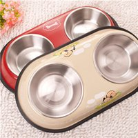 Wholesale Stainless Steel Dog Bowls Double Bowls With Rubber Base Non Skid Classical Food Bowl Water Bowl For All Pets Rust Resistant Dish RedYellow