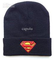 batman fitted hat - Superman beanie winter knitted hats black blue batman cartoon hats mix order
