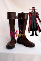 alucard hellsing cosplay - Anime Hellsing Alucard Cosplay Party Shoes Dark Brown Boots Custom made