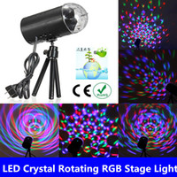 mini laser light show - 10pcs AC80 V EU US Mini Laser Projector w Lighting bulbs Colorful LED Crystal Rotating RGB Stage Light Home Party Stage Club DJ Show