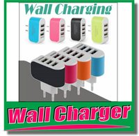 Wholesale 3 usb plug EU US Plug A USB Power Adapter Colorful Wall home Travel Charger power For Samsung iPhone HTC OM E4