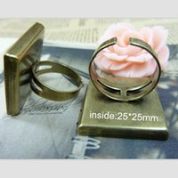 antique ring mountings - Antique Bronze Adjustable Finger Ring Base with mm Square Bezel Cup Cabochon Mountings