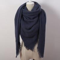 al por mayor las mujeres za-Za Forme la bufanda cuadrada sólida del invierno para las mujeres sobredimensionan las manchas el mantón suave Cachemira marca el tamaño 140cmx140cm del cabo Venta caliente