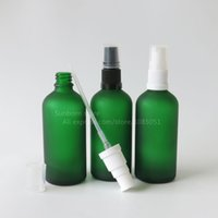 best pump sprayer - 500pcs Best selling ml green frosted glass cosmetic oil bottle with lotion pump sprayer