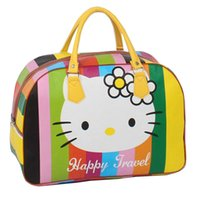 Wholesale Little Girls PU Leather Duffel Bags High Capacity Travel Tote Bag Cartoon Hello Kitty Travel Bag For Trip