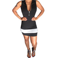 Wholesale 2016 Bodycon Dresses For Womens Fashion V Neck Zipper Sleeveless Over Hip Striped Mini Casual Dresses