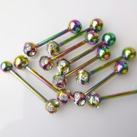 Wholesale Gauge Stainless Steel Colorful Tongue Rings With Rhinestone Crystal Ball Piercing Jewelry Ball Bar Ear Nail Rings
