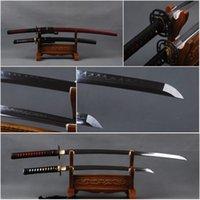 art clay metal - Handmade Decoration Carbon Steel Clay Tempered Blade Japanese Samurai Swords Set Full Tang Sharp Katana amp Wakizashi