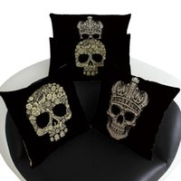 Cheap 4 Styles Skull Sofa Cushion Covers 45*45cm Linen Pillow Case Skeleton Print Couch Bed Car Office Pillow Cover Halloween Gifts PPA355