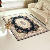 Wholesale Pastoral Jacquard Carpet for Living Room Kilim Floral Capacho Acrylic Slip resistant Kitchen Area Mat Bedroom Rug in Blue