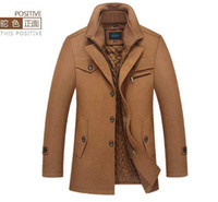 beige peacoat - Mens Fashion Classic British Style Trench Coat Wool Double Stand Collar thick warm mid long Trench Coat Peacoat jacket