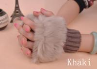 Wholesale Autumn warm fingerless gloves women warm wool imitation rabbit hair Short gloves Knitted gloves